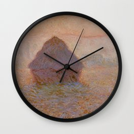 Grainstack, Sun in the Mist by Claude Monet Wall Clock