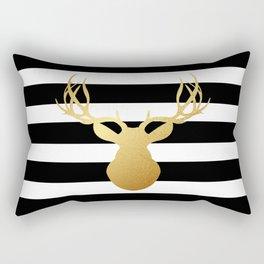 Deer head silhouette - Gold foil black and white stripe design Rectangular Pillow