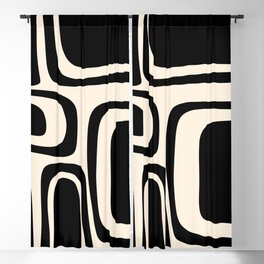 Palm Springs - Midcentury Modern Abstract Pattern in Black and Almond Cream  Blackout Curtain