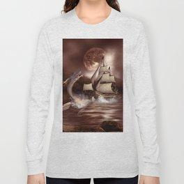 Awesome seadragon with ship Long Sleeve T-shirt