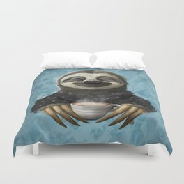 Sloth smilling with coffee latte Duvet Cover