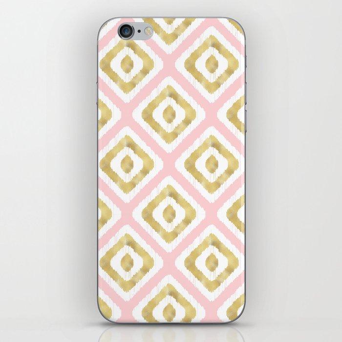 Pink & Gold Ikat Pattern iPhone Skin