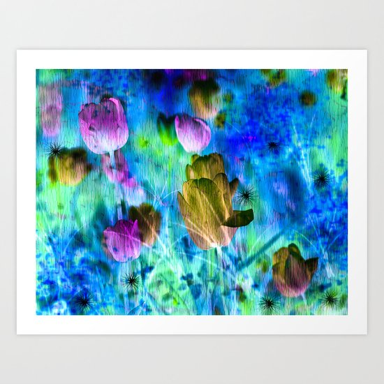 Blue Ocean of Tulips Art Print