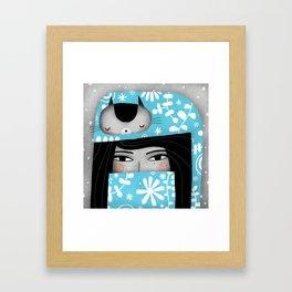 WINTER CAT HAT Framed Art Print