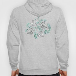 Laughing Baby Elephants – emerald and turquoise Hoodie