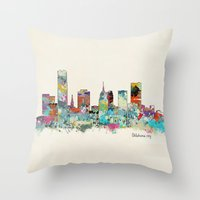oklahoma Throw Pillows featuring Oklahoma City Oklahoma skyline by bri.buckley