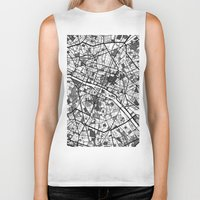 paris map Biker Tanks featuring Paris by Mondrian Maps