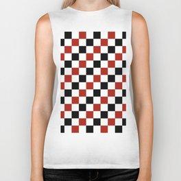 Diagonal Pixel Red Black white Biker Tank