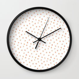 Sweet Peach Polka Dot, White Wall Clock