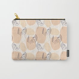 One line drawn faces Carry-All Pouch