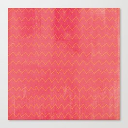 Pink yellow watercolor hand painted zigzag pattern Canvas Print