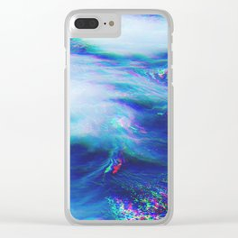 Oceanic Glitches - Very Blue Clear iPhone Case