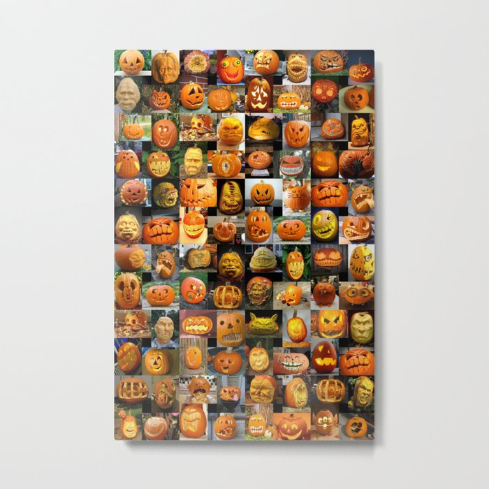 Pumpkin Faces Metal Print