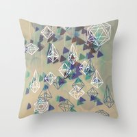 crystals Throw Pillows featuring crystals by Sil-la Lopez