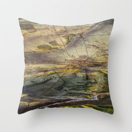 Vintage Map of The Gettysburg Battlefield (1863) Throw Pillow