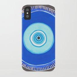 Blue and Silver Evil Eye Mandala iPhone Case
