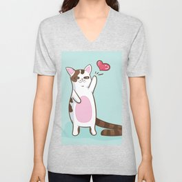 Fatty Catty saying HI Unisex V-Neck