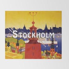 Vintage Stockholm Sweden Travel Throw Blanket