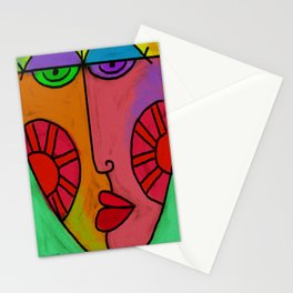 Colorful Abstract Digital Painting of a Face Stationery Cards