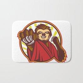 Sloth Fighter Self Defense Circle Mascot Bath Mat