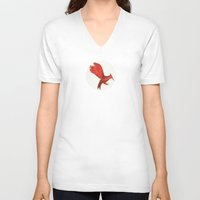 mockingjay V-neck T-shirts featuring Mockingjay CatchingFire by Blanca MonQnill Sole