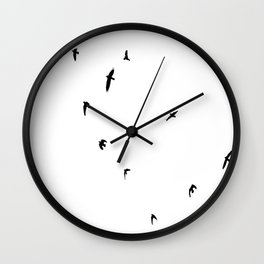 A Murder of Crows In Flight Silhouette Wall Clock