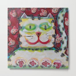 Square cat Metal Print