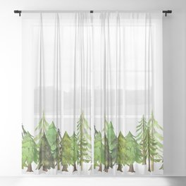 Christmas Pine Tree Forest Sheer Curtain
