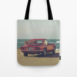 Red Supercar, classic car, triumph, spitfire, color photo, interior design, old car, auto Tote Bag