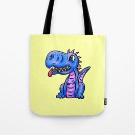 Little Dragon Dinosaur in Blue Tote Bag