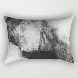 """Black and White Textured Abstract Painting """"Delve 3"""" Rectangular Pillow"""