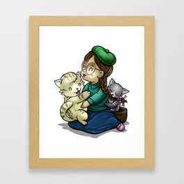 Playing And Cuddling With Cats Framed Art Print