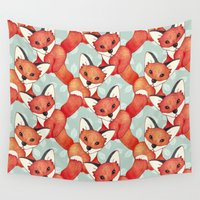 cartoons Wall Tapestries featuring Fox Lattice  by Perrin Le Feuvre