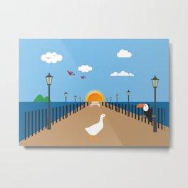 Goose on the platform  Metal Print