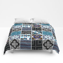 Patchwork . Blue , black and grey . Comforters