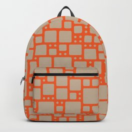 abstract cells pattern in orange and beige Backpack