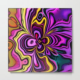 Abstract Iris Flower Design Metal Print