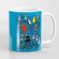 robots Mugs featuring ROBOTS! by Chris Piascik