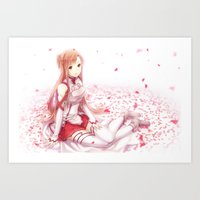 sword art online Art Prints featuring Sword Art Online - Asuna by weee