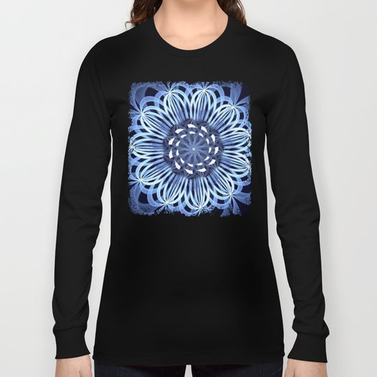Sky blue fantasy pattern flower Long Sleeve T-shirt