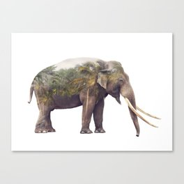 Double exposure of elephant and palm trees on white background Canvas Print