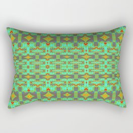 Vintage Psychedelic Kitsch Pattern Green Rectangular Pillow