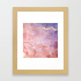 Blush and Purple Sky with Rose gold flashes Framed Art Print