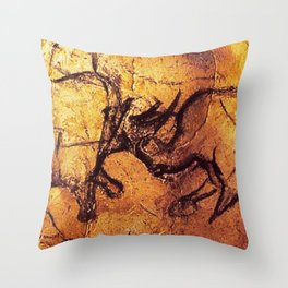 Fighting Rhinos // Chauvet Cave Throw Pillow