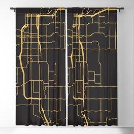 ANCHORAGE ALASKA GOLD ON BLACK CITY MAP Blackout Curtain