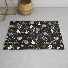 Darkly Beautiful Wildflower Floral Pattern Rug