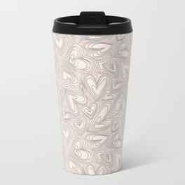 Abstract ivory brown hand painted valentine's hearts pattern Travel Mug