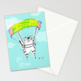 Be Brave Cat Print Stationery Cards