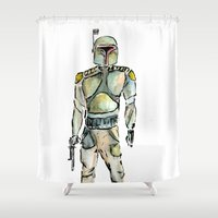 boba fett Shower Curtains featuring Boba Fett by Fernando Eizaguirre