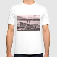 Old rusty boat with net (sepia) MEDIUM Mens Fitted Tee White